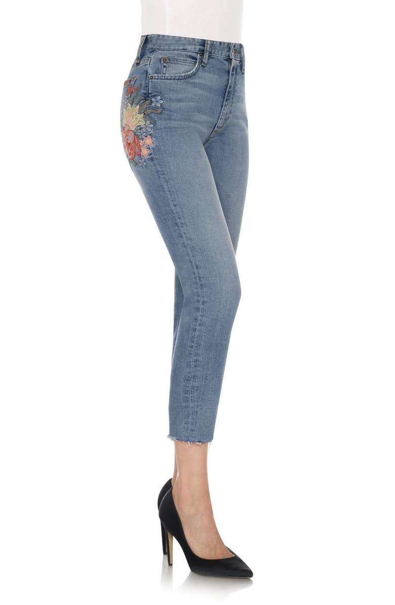 JOE'S The Debbie Embroidered High Waist Crop Straight Leg Jeans, Main, color, 410