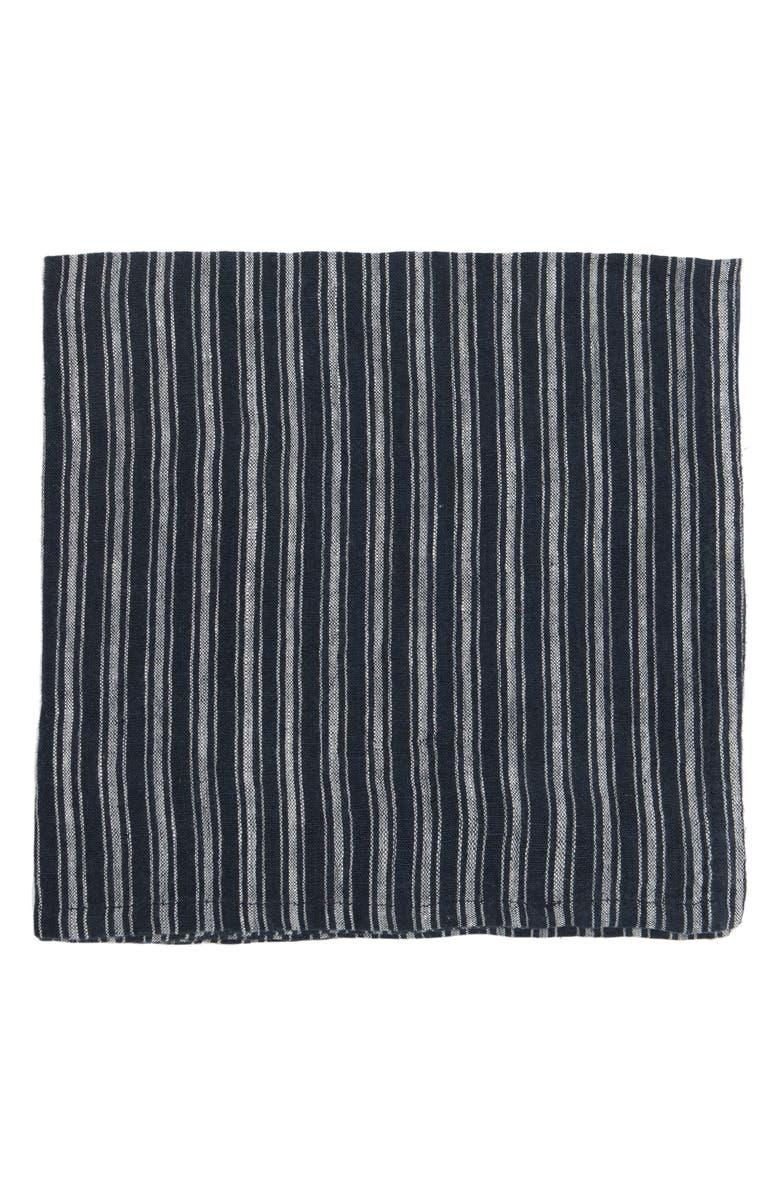 CARAVAN Set of 4 Boat Stripe Napkins, Main, color, INDIGO/ WHITE