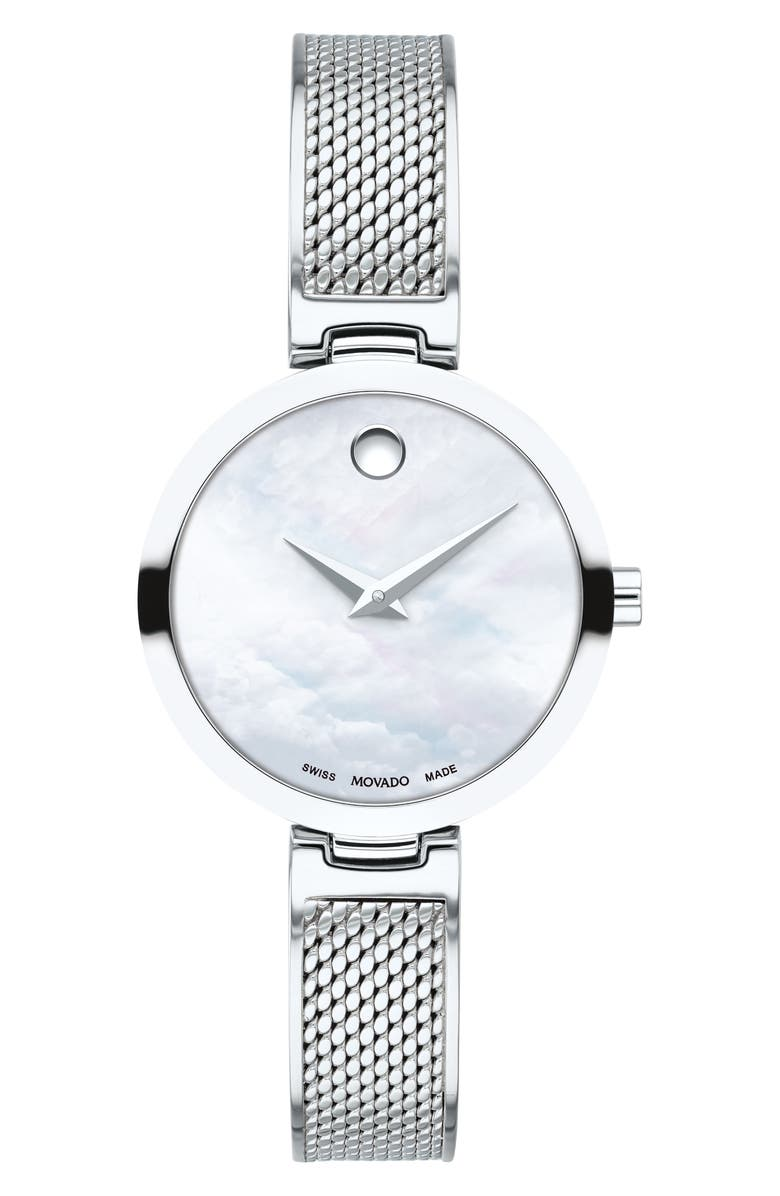MOVADO Amika Mesh Bracelet Watch, 27mm, Main, color, SILVER/ WHITE MOP/ SILVER