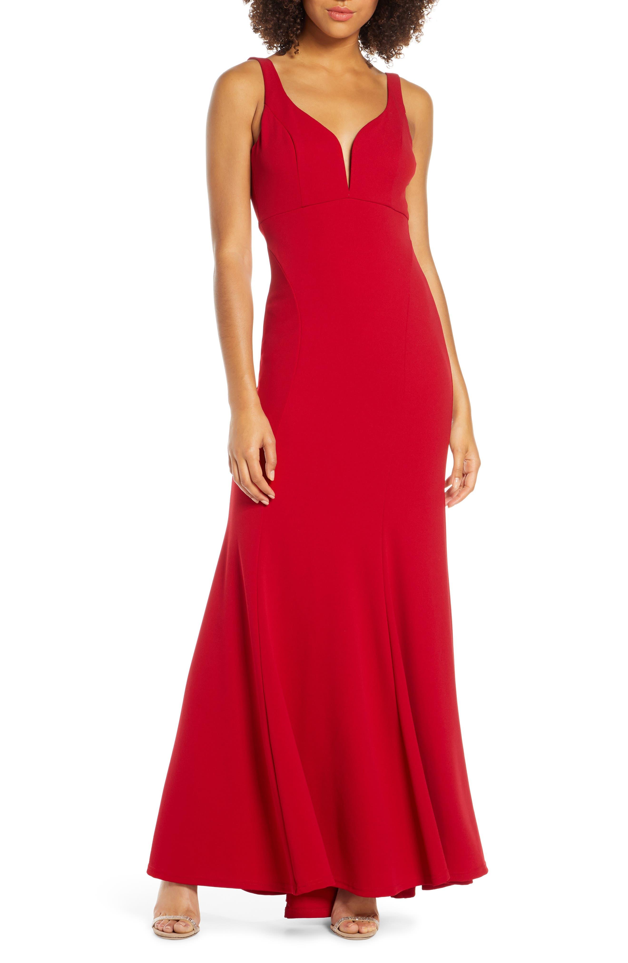 Lulus Aperitif Crepe Mermaid Gown, Red