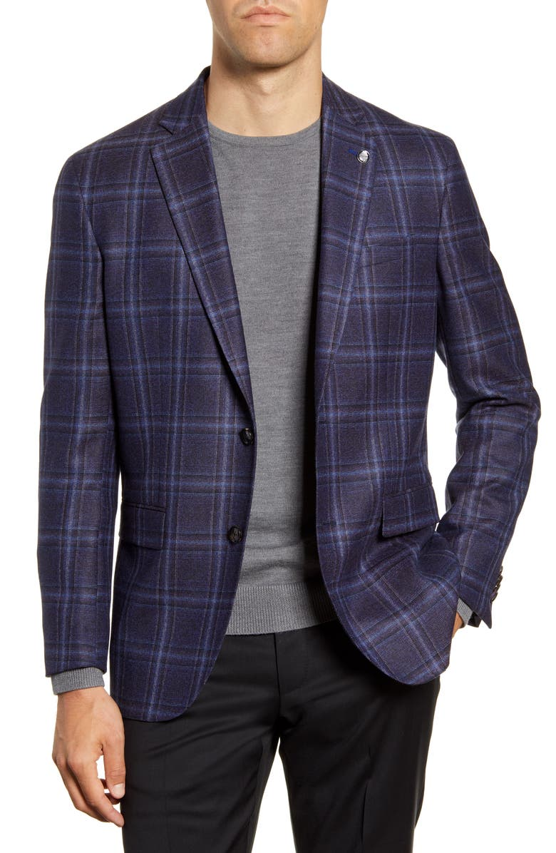 TED BAKER LONDON Konan Trim Fit Plaid Wool Sport Coat, Main, color, 400