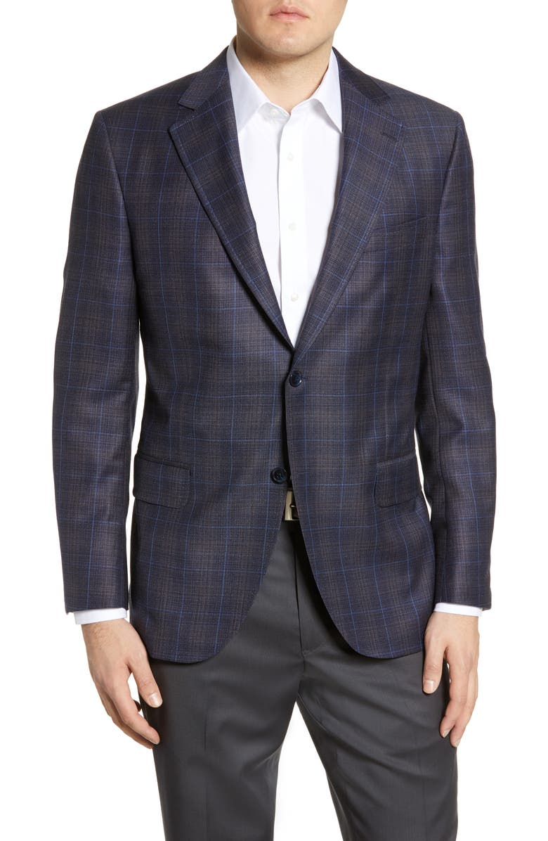 PETER MILLAR Hyperlight Classic Fit Plaid Wool Sport Coat, Main, color, BLUE