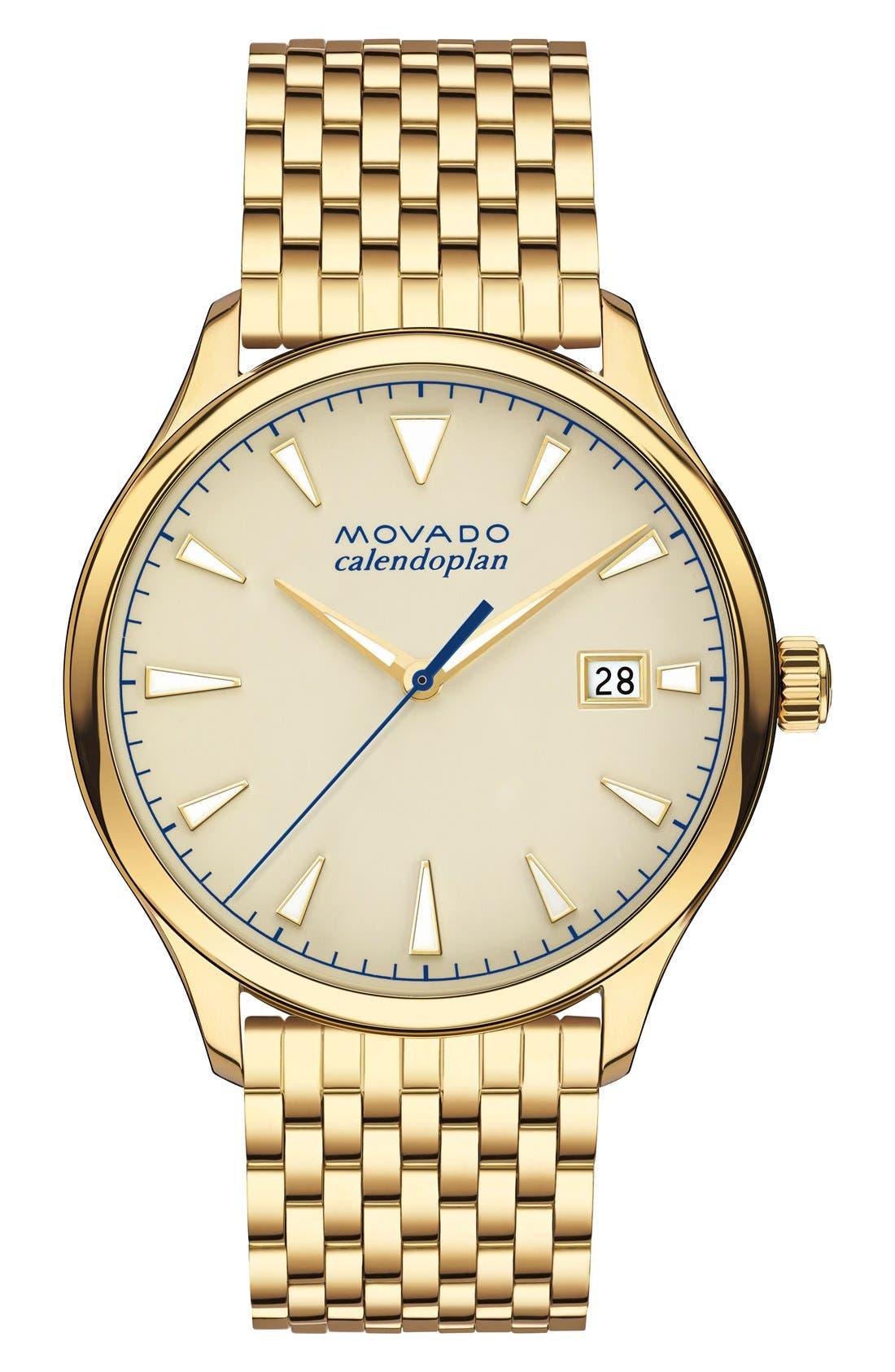 Heritage Calendoplan Bracelet Watch, 40mm, Main, color, GOLD/ BEIGE