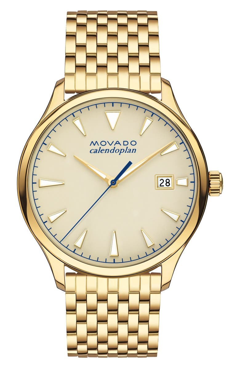 MOVADO Heritage Calendoplan Bracelet Watch, 40mm, Main, color, GOLD/ BEIGE