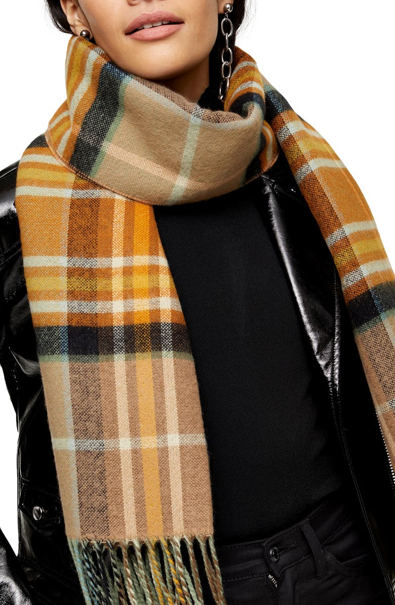 TOPSHOP Lightweight Check Scarf, Main, color, CAMEL