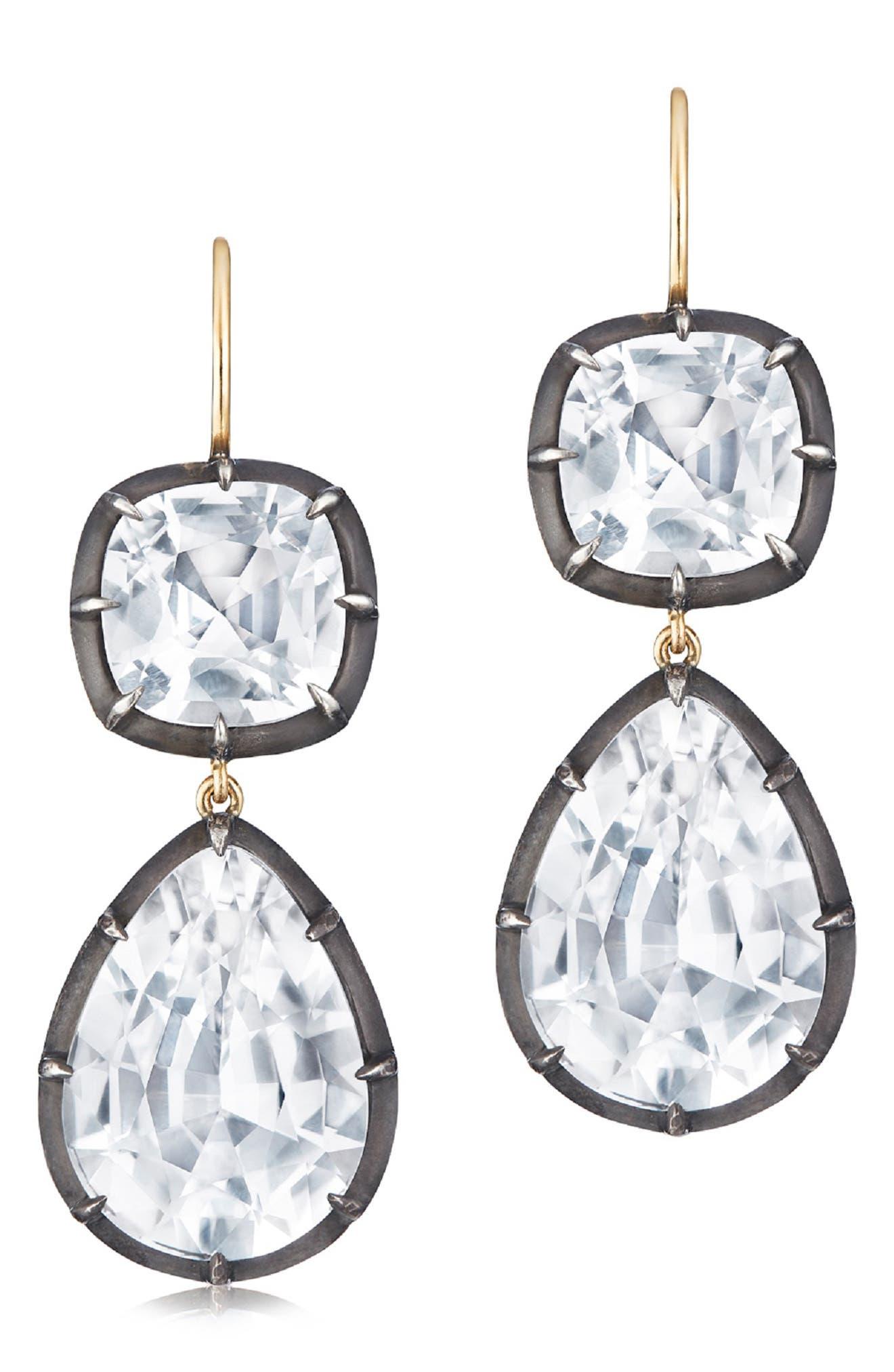 Collet Double Drop Earrings