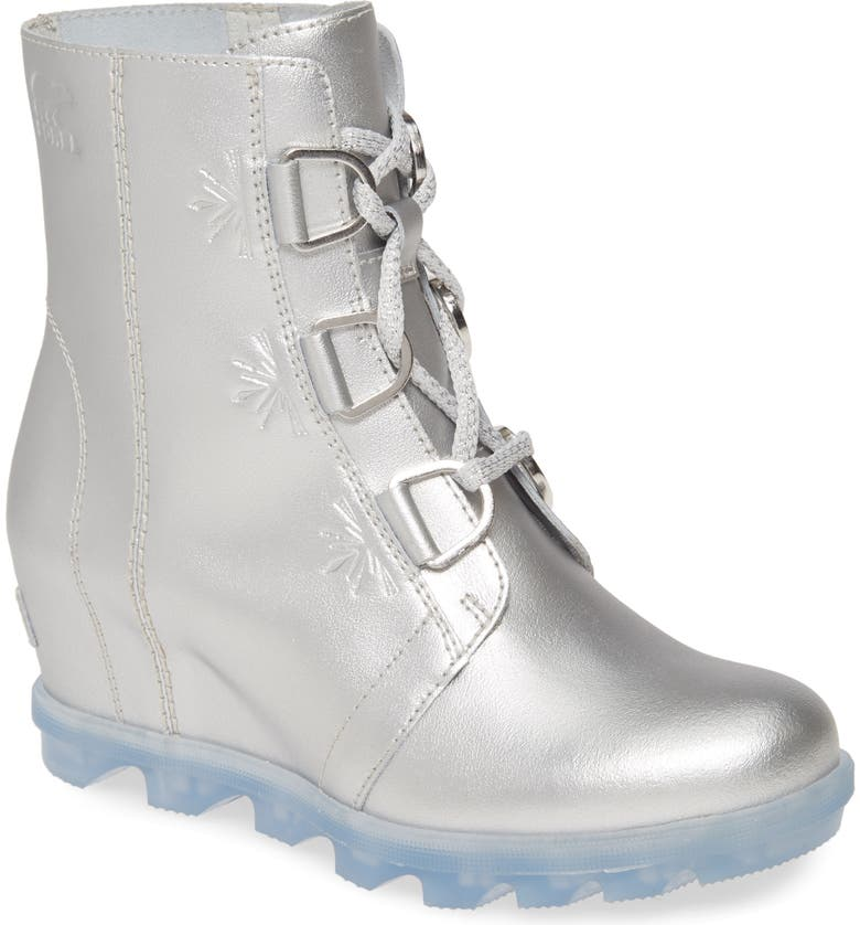 SOREL x Disney 'Frozen' Joan of Arctic<sup>™</sup> Waterproof Wedge Boot, Main, color, PURE SILVER