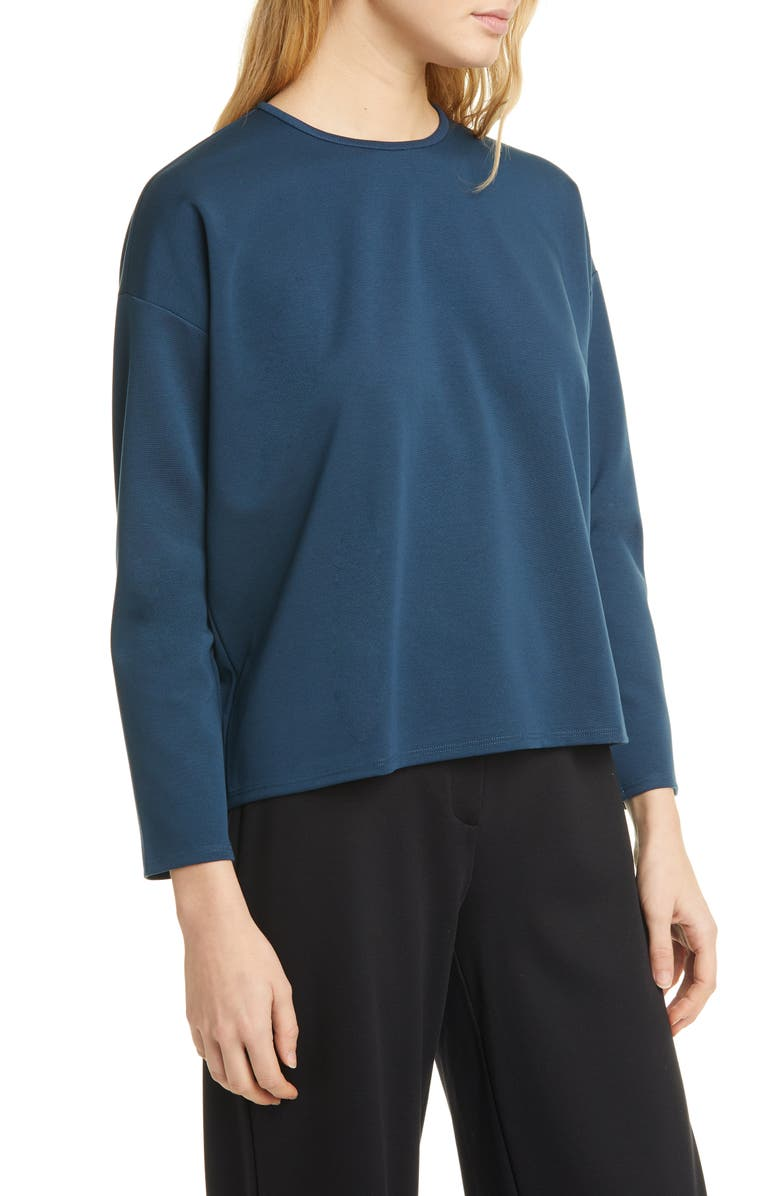 EILEEN FISHER Boxy Crewneck Top, Main, color, STORM