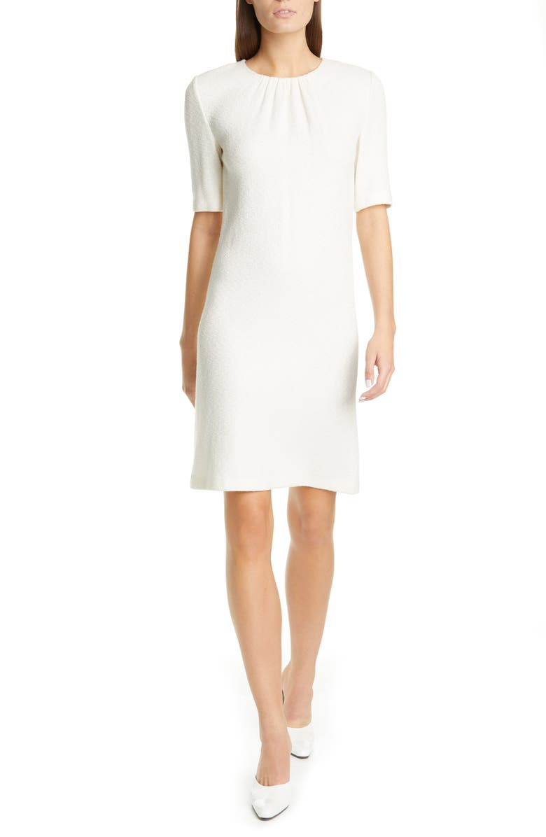 ST. JOHN COLLECTION Elbow Sleeve Refined Knit Dress, Main, color, 100