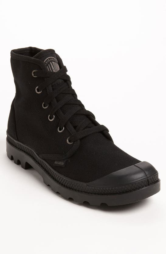 Palladium Pampa Hi Canvas Boots In Black In Black/ Black