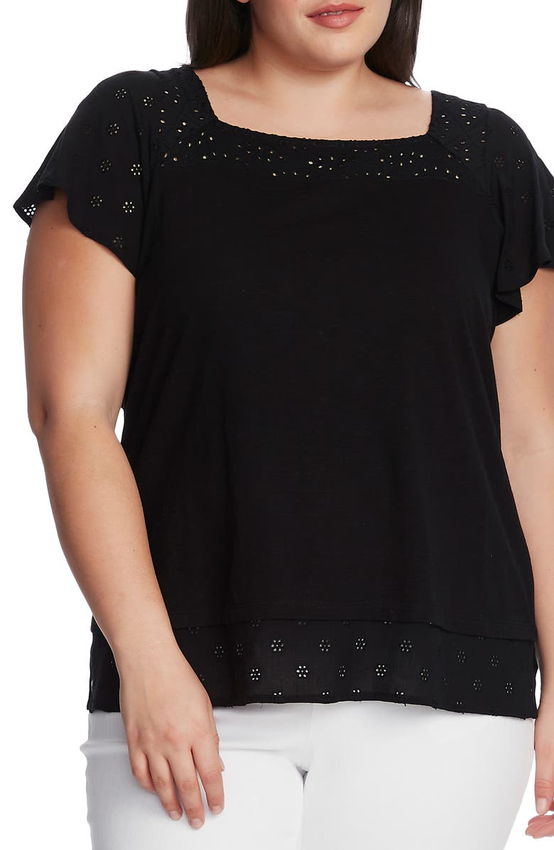 VINCE CAMUTO Eyelet Detail Short Sleeve Cotton Blend Layered Top, Main, color, RICH BLACK