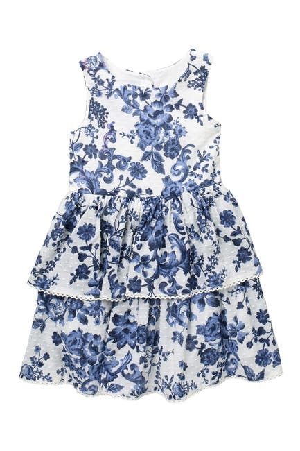 Image of Pastourelle by Pippa and Julie Floral Print Tiered Skirt Dress