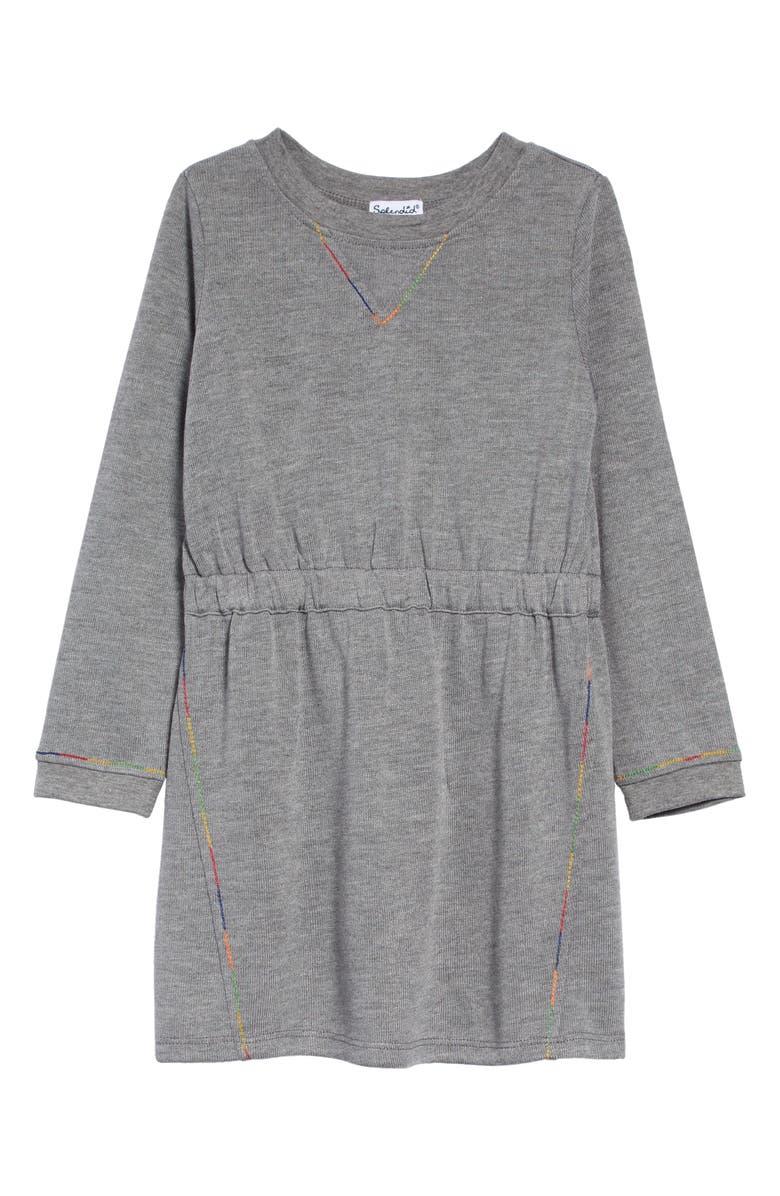 SPLENDID Rainbow Stitch Long Sleeve Dress, Main, color, LIGHT CHARCOAL HEATHER