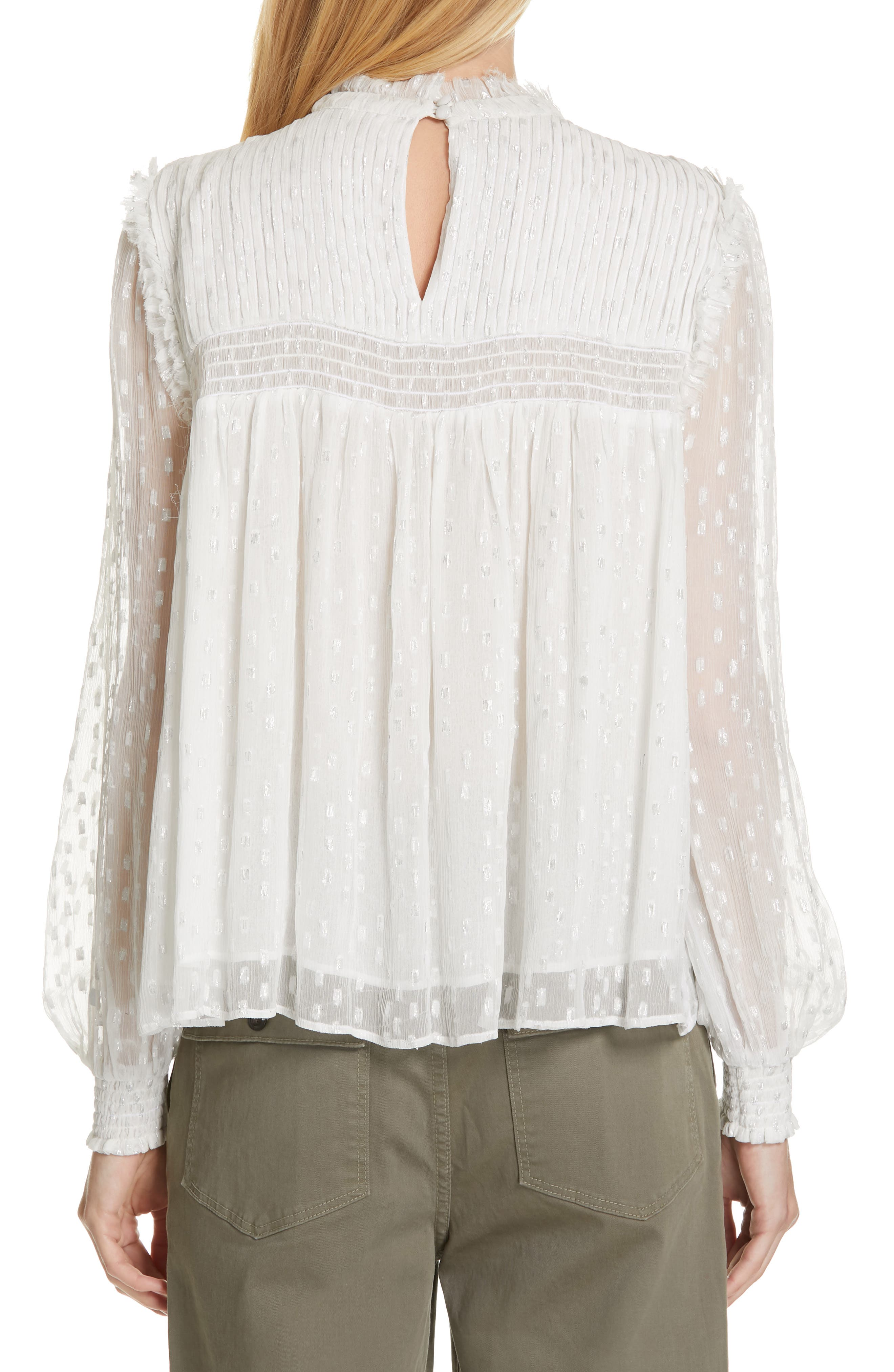 ,                             Smocked Metallic Woven Blouse,                             Alternate thumbnail 2, color,                             OFF WHITE MULTI