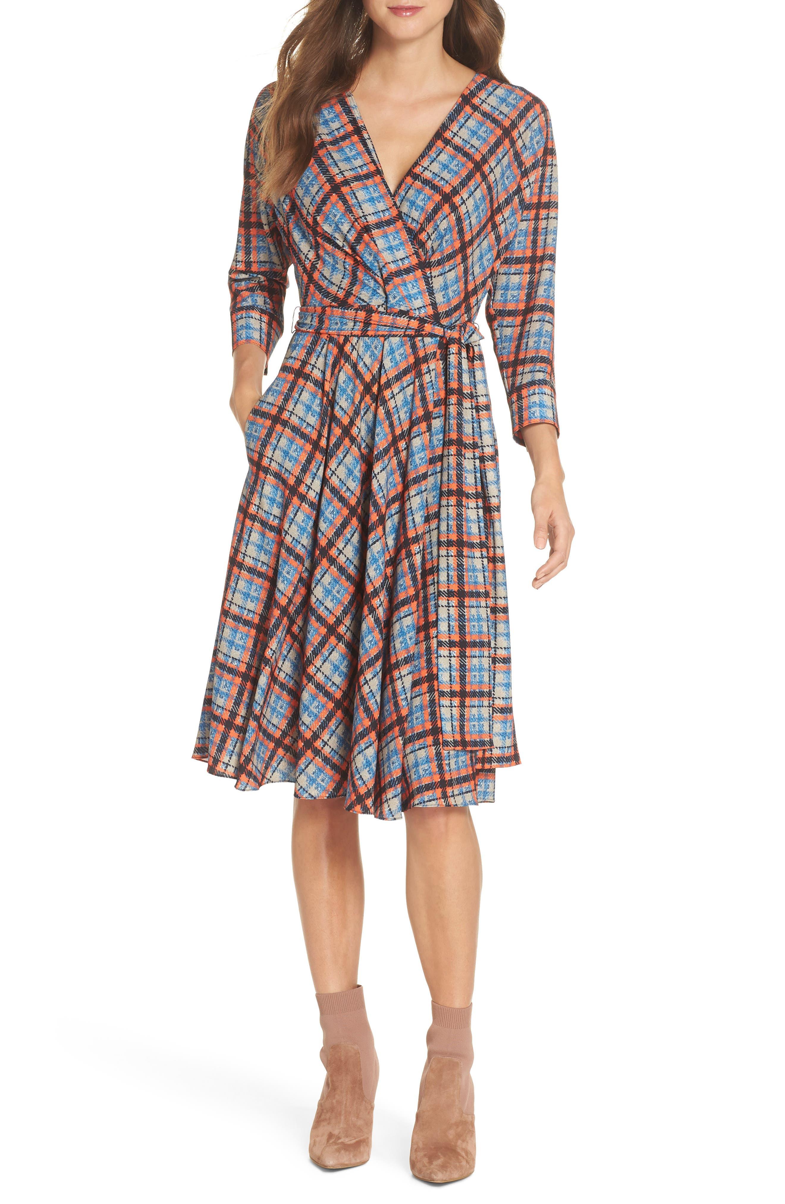 ,                             Plaid Faux Wrap Dress,                             Alternate thumbnail 6, color,                             810