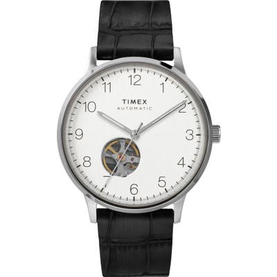Timex Waterbury Automatic Leather Strap Watch, 40mm