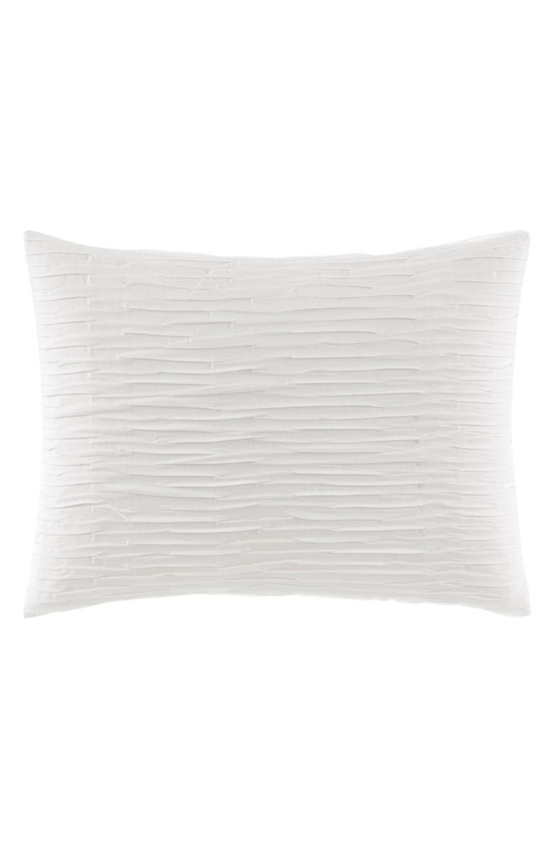 VERA WANG Textured Pleat Accent Pillow, Main, color, WHITE