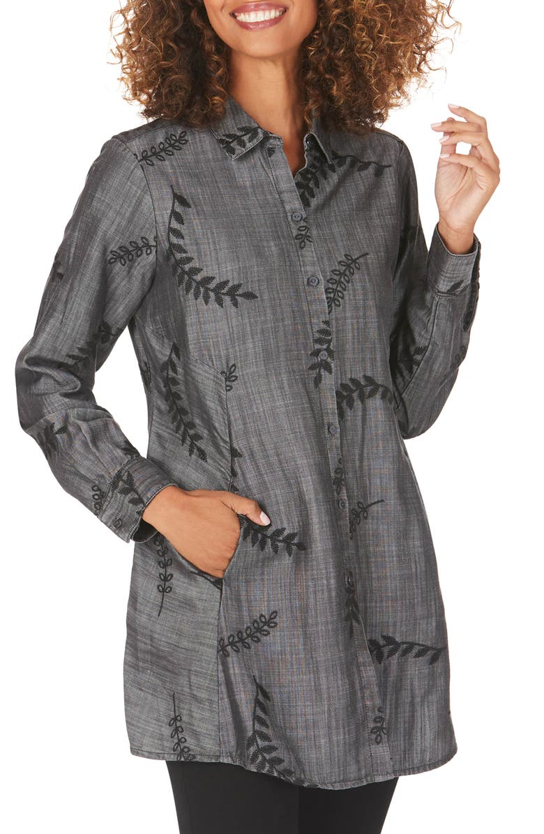 FOXCROFT Cici Embroidered Tunic Shirt, Main, color, CHARCOAL