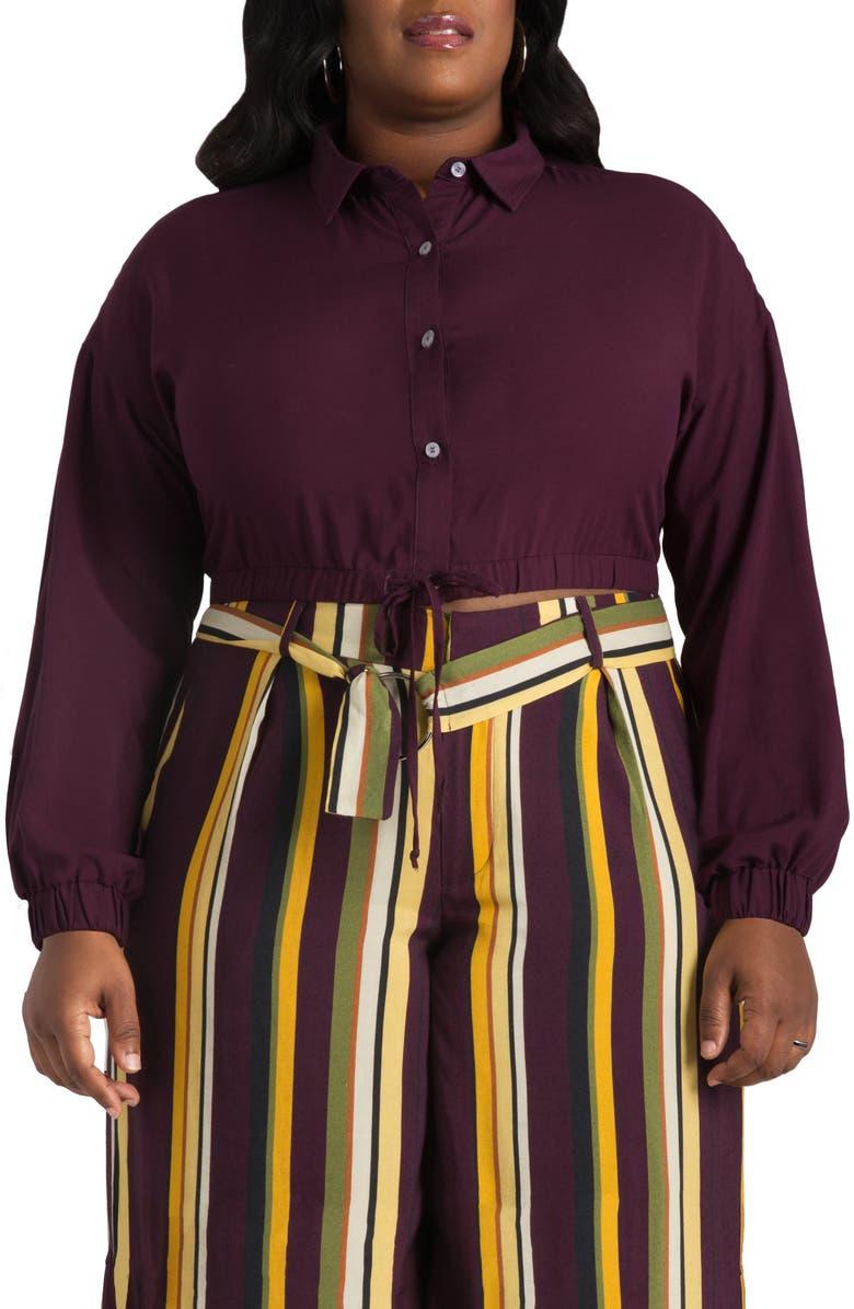 POETIC JUSTICE Kimora Tie Front Button Up Blouse, Main, color, PURPLE