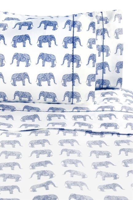 Image of Melange Home Queen 400 Thread Count Cotton Elephants Sheet 4-Piece Set