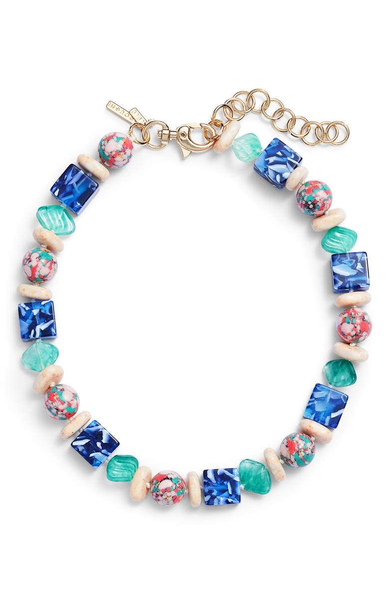 LELE SADOUGHI Stacked Pebble Collar Necklace, Main, color, OCEAN BLUE