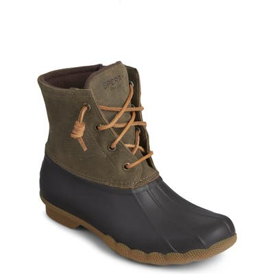Sperry Saltwater Waterproof Rain Boot- Brown