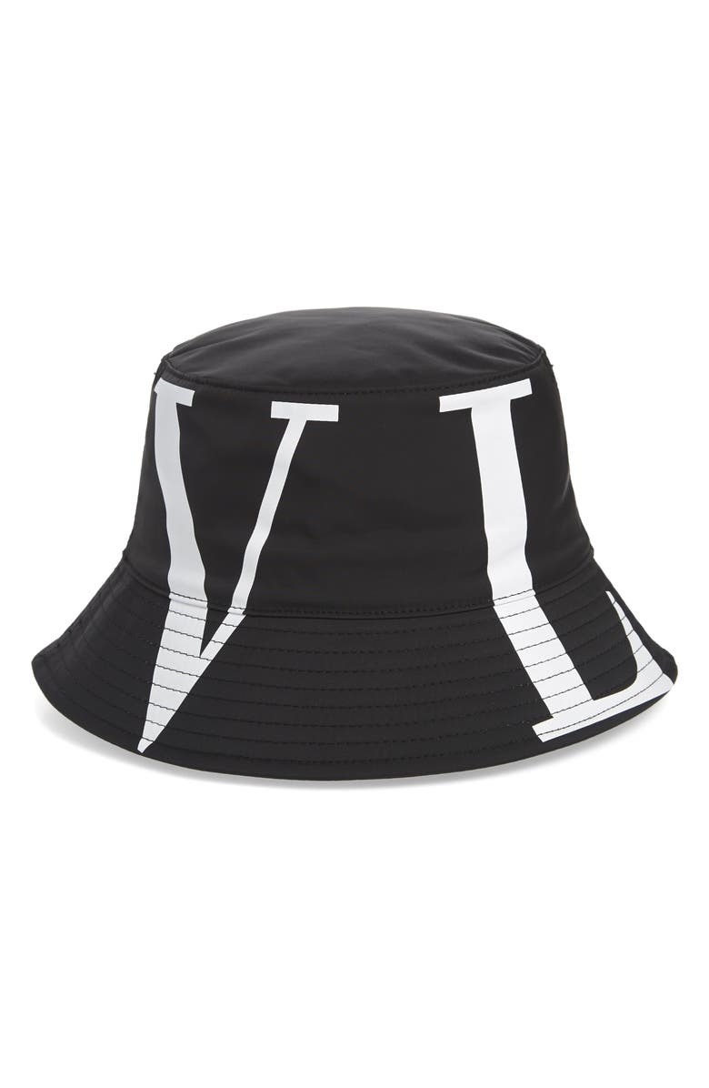 VALENTINO VLTN Bucket Hat, Main, color, BLACK/ WHITE