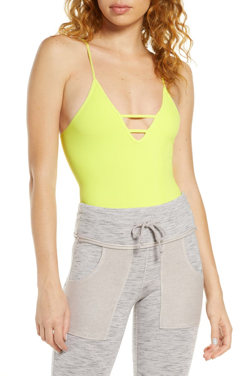FREE PEOPLE FP MOVEMENT FP Movement Dance All Day Bodysuit, Main, color, LIME