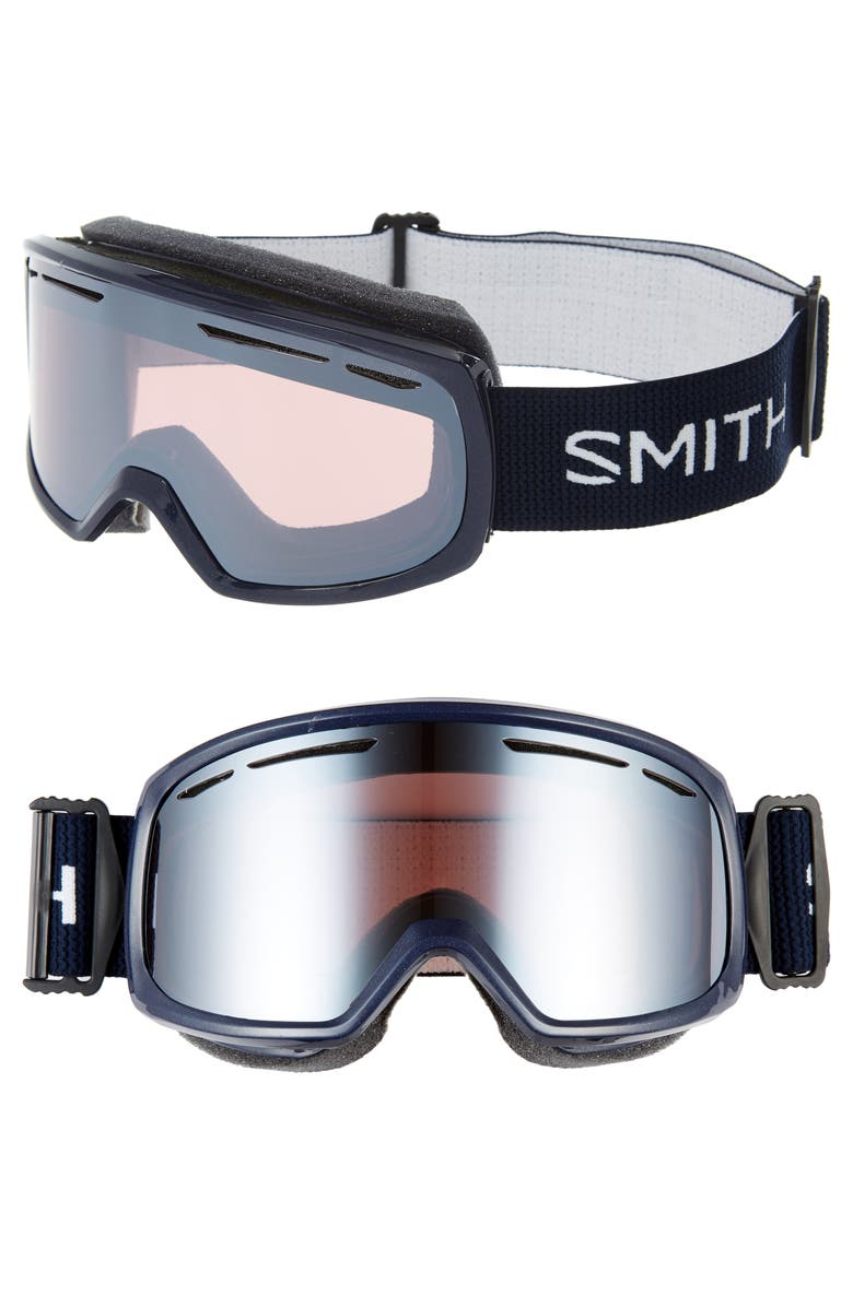 SMITH Drift 178mm Snow Goggles, Main, color, NAVY INK/ BROWN