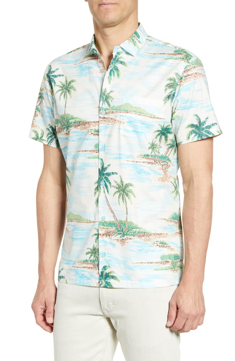 TORI RICHARD Atoll Regular Fit Short Sleeve Button-Up Sport Shirt, Main, color, 102