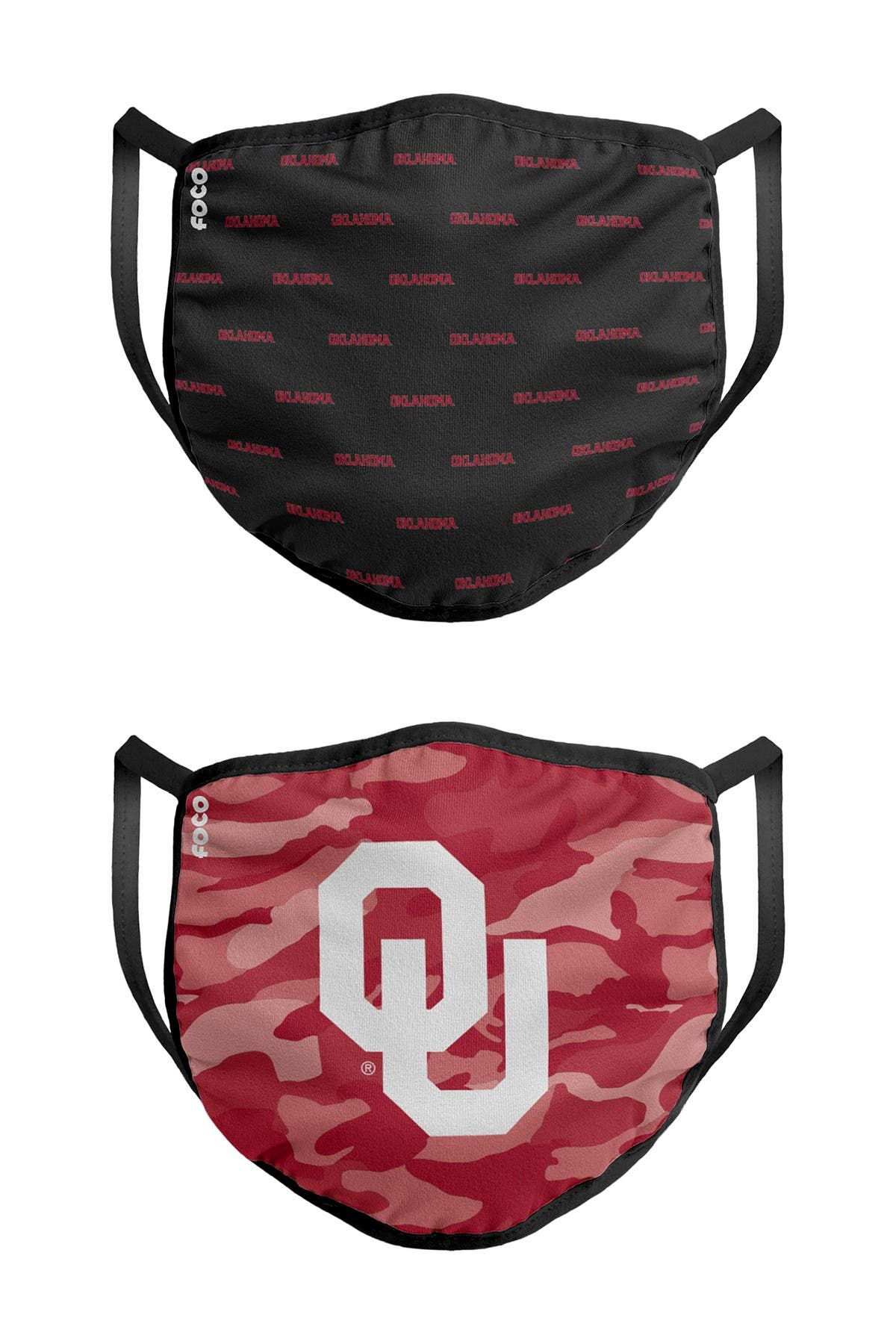 Image of FOCO NCAA Oklahoma Clutch Printed Face Cover - Pack of 2