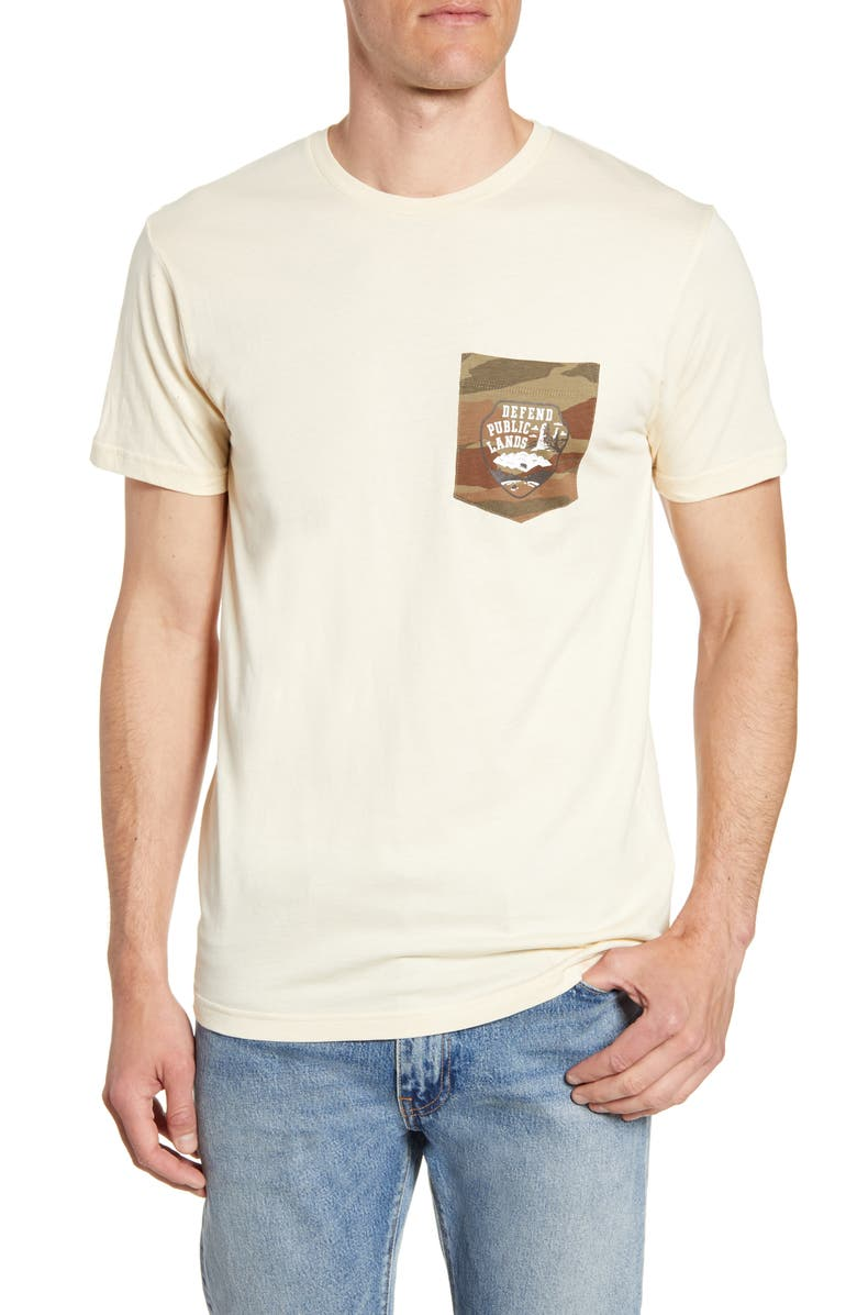 PATAGONIA Defend Public Lands Organic Cotton Graphic Pocket T-Shirt, Main, color, OYSTER WHITE