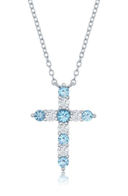 Image of Simona Jewelry Sterling Silver Blue & White CZ Cross Pendant Necklace - December Birthstone