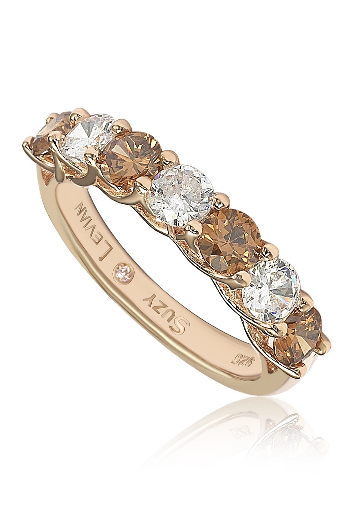 Image of Suzy Levian Rose-Tone Sterling Silver Prong Set Round-Cut CZ Band Ring