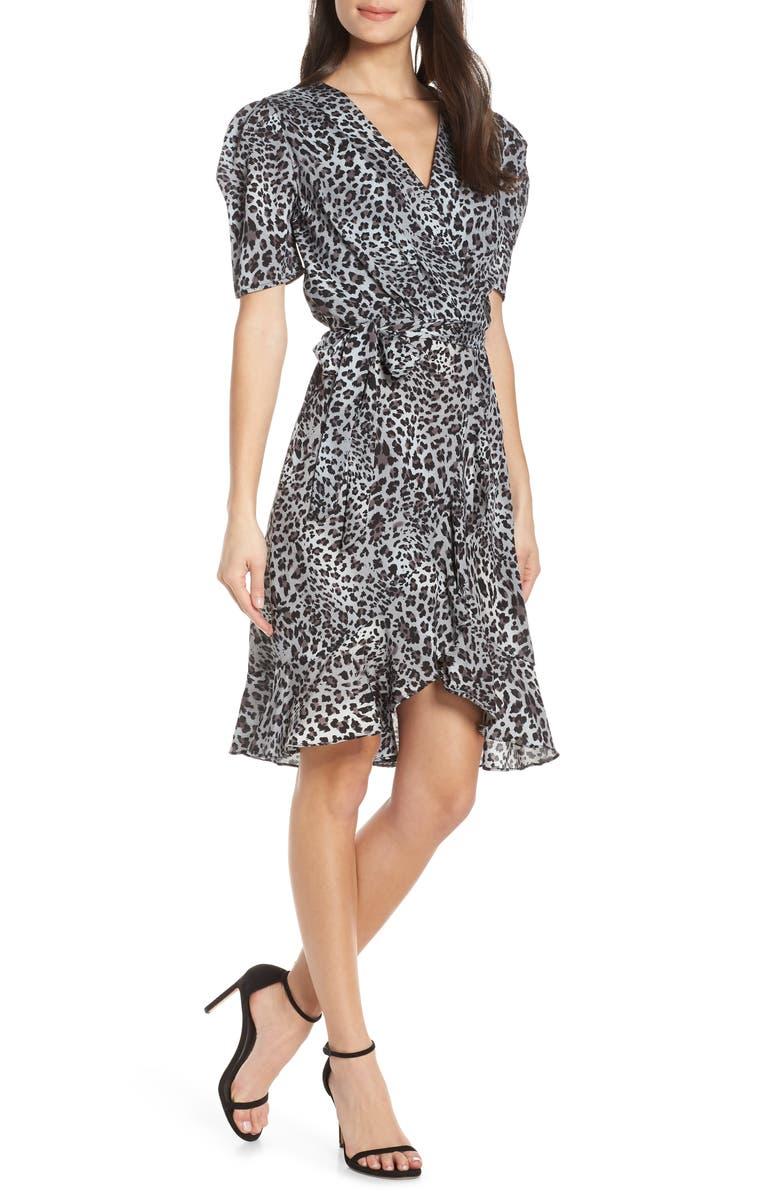 Fraiche By J Linda Animal Print Faux Wrap Dress