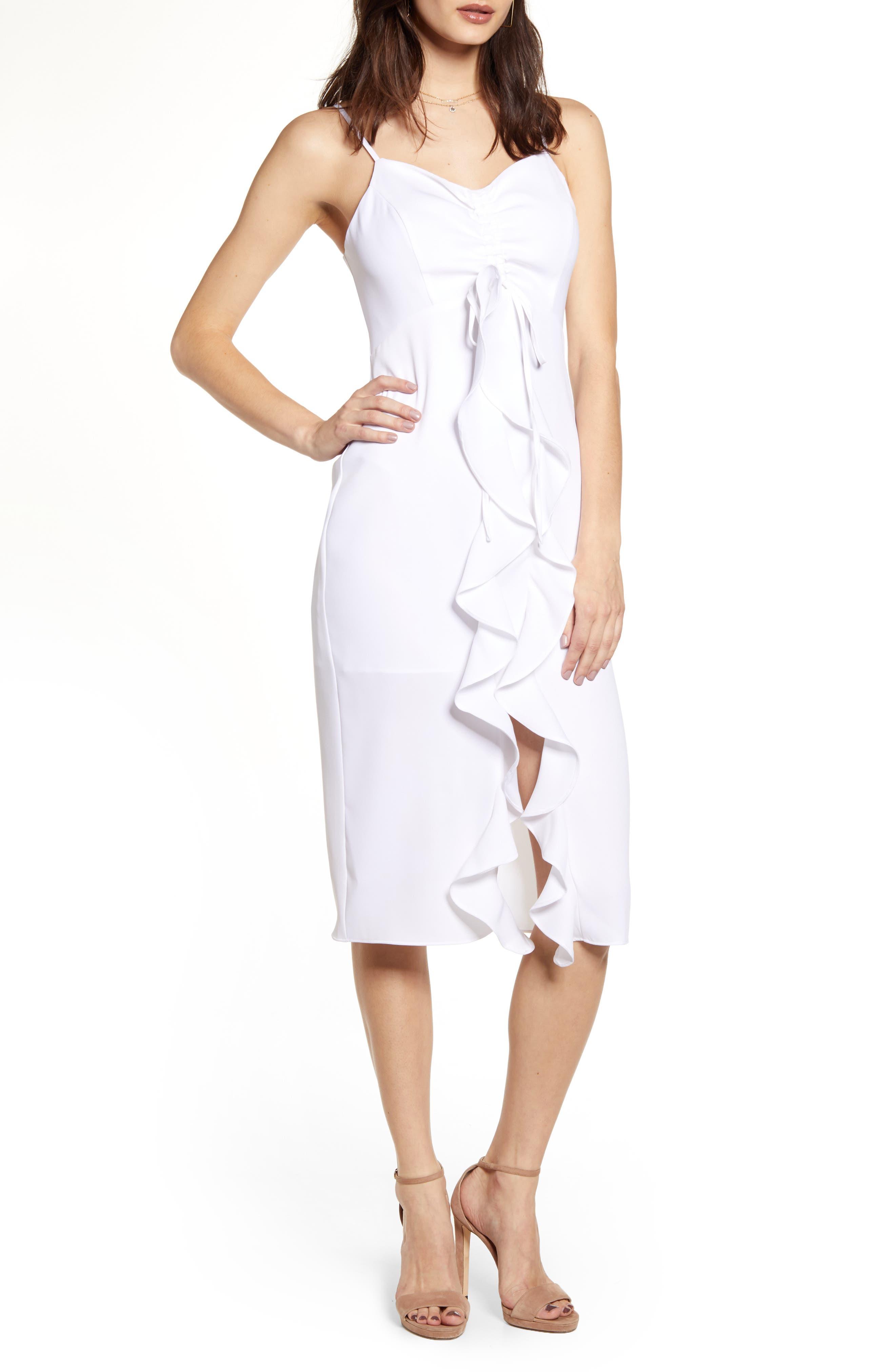 Endless Rose Strapless Ruffle Front Midi Dress, White