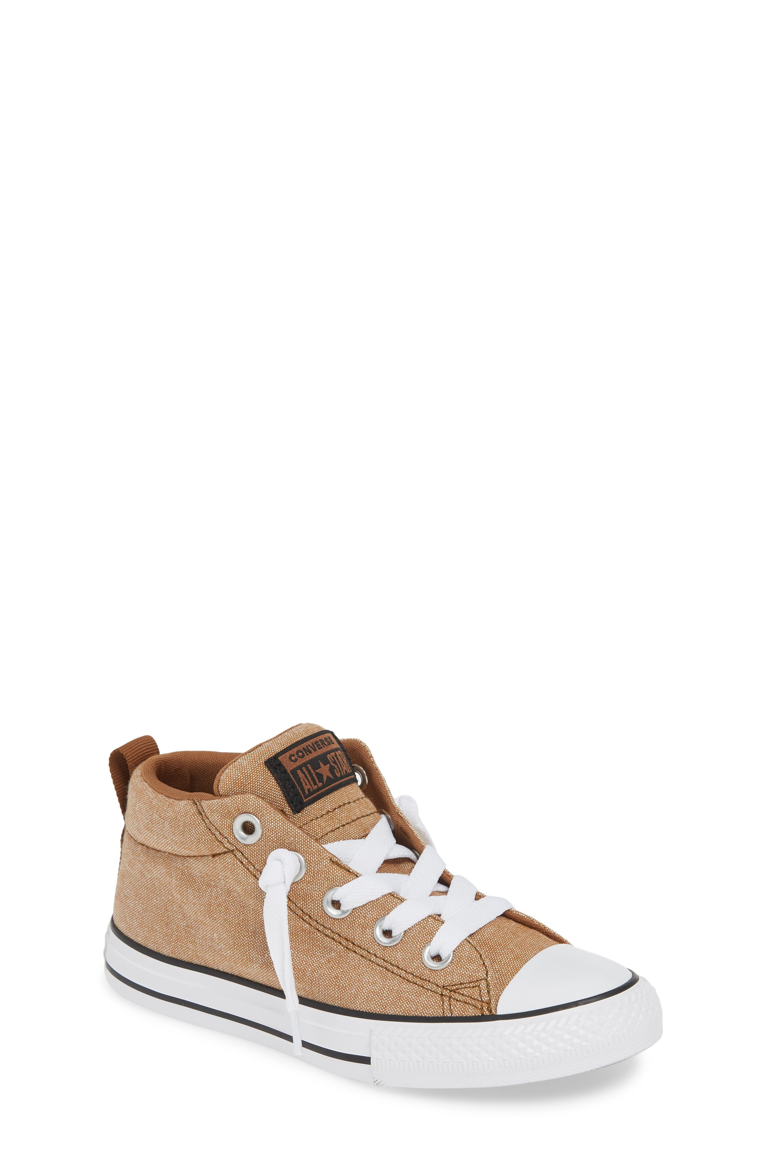 ,                             Chuck Taylor<sup>®</sup> All Star<sup>®</sup> Street Mid Top Sneaker,                             Main thumbnail 1, color,                             ALE BROWN/ BLACK/ WHITE