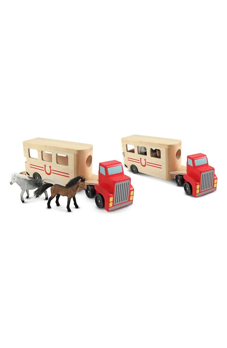 MELISSA & DOUG Horse Trailer Play Set, Main, color, BROWN