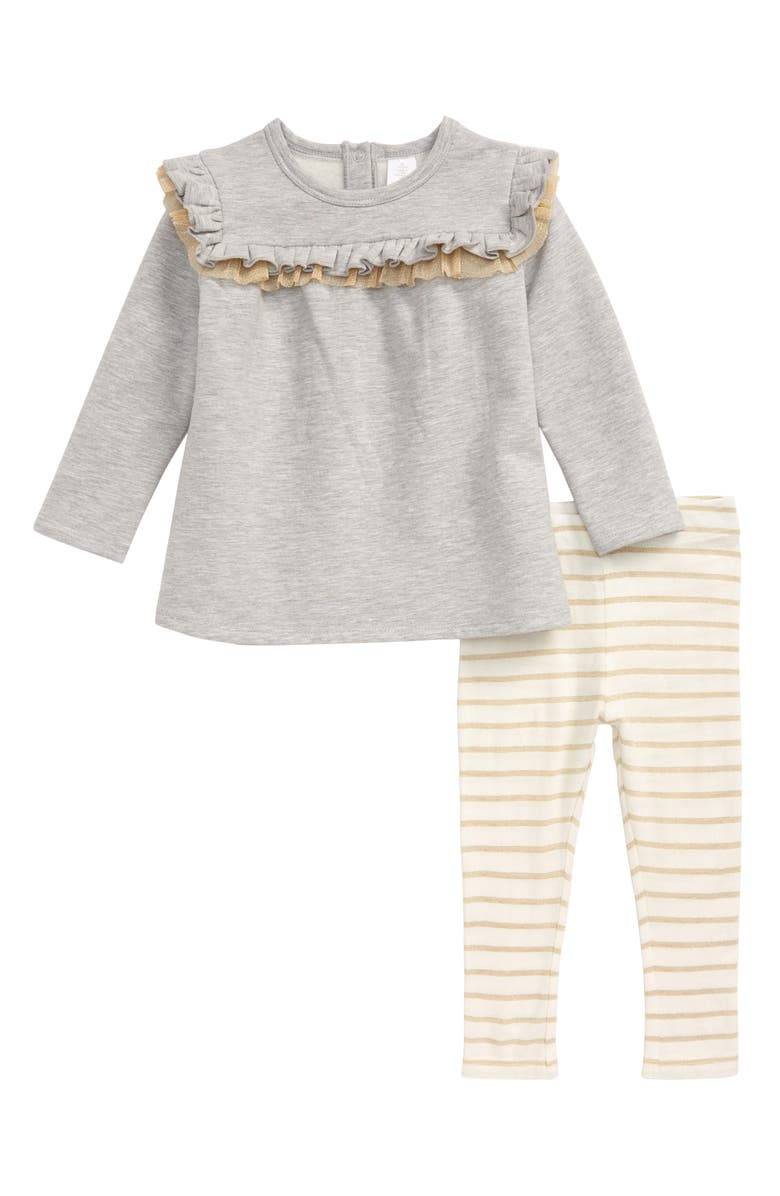 NORDSTROM Glittery Ruffle Tunic & Stripe Leggings Set, Main, color, GREY ASH HEATHER- GOLD STRIPE