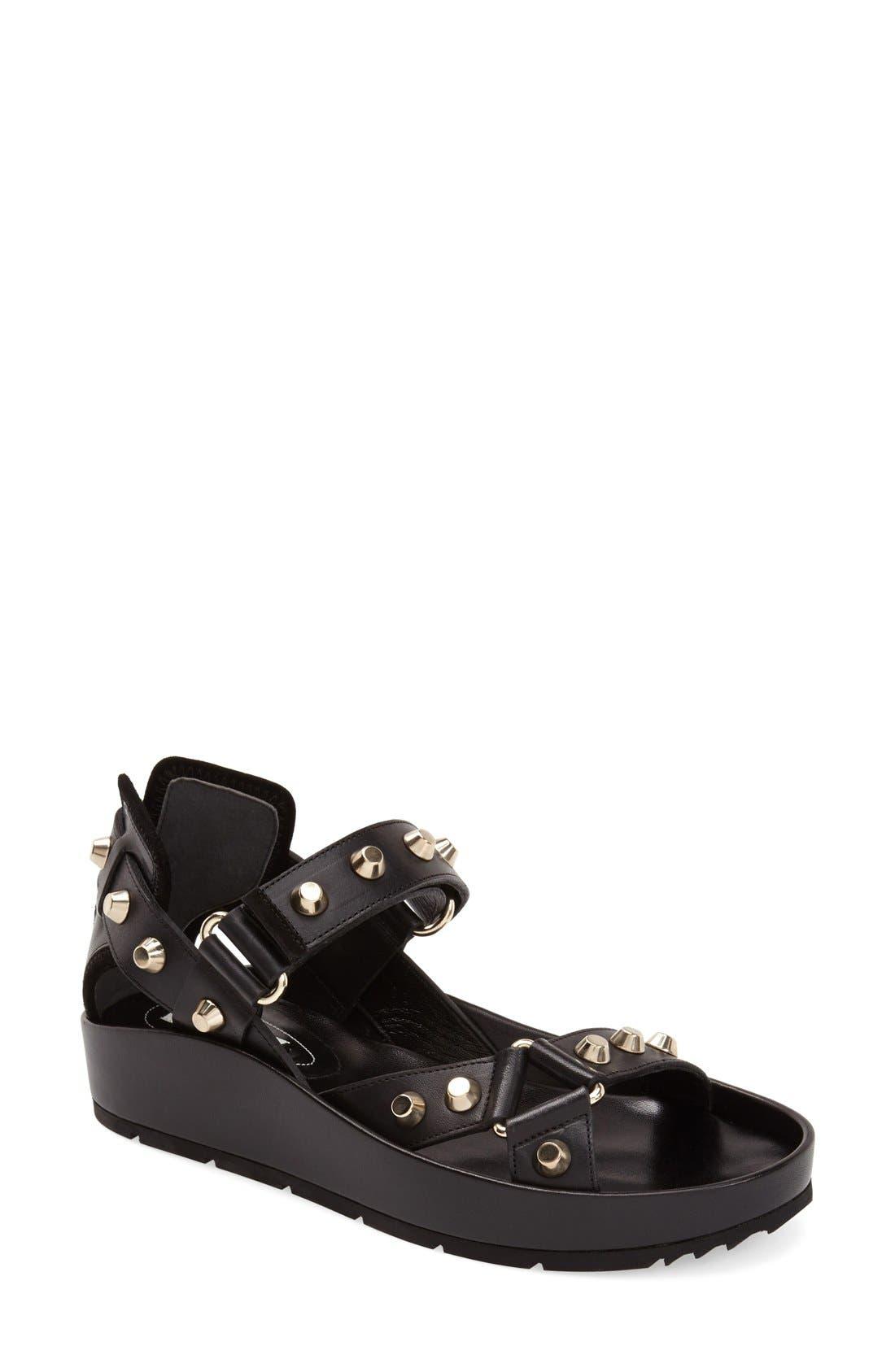 ,                             Studded Leather Sandal,                             Main thumbnail 1, color,                             001