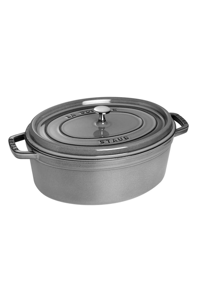 STAUB 7-Quart Oval Enameled Cast Iron Cocotte, Main, color, GRAPHITE