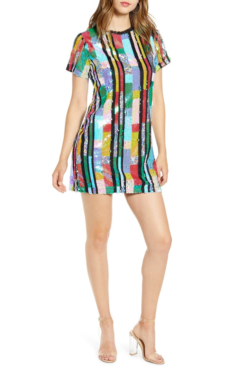 ENDLESS ROSE Multicolor Sequin Minidress, Main, color, MULTI