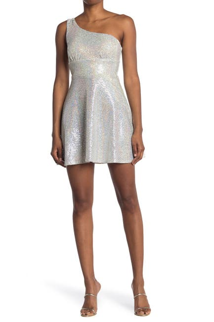 Image of Love, Nickie Lew One Shoulder Sequin Skater Dress