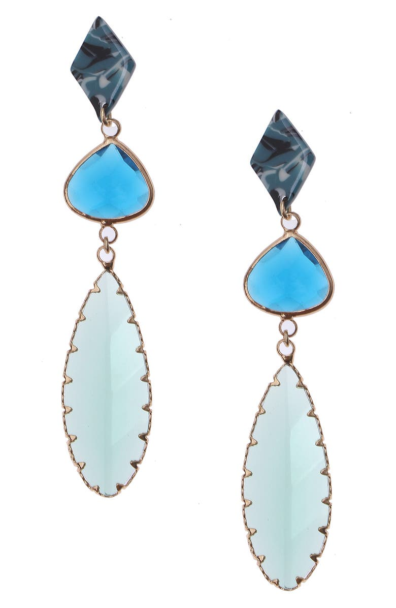 NAKAMOL CHICAGO Glass Drop Earrings, Main, color, BLUE RESIN
