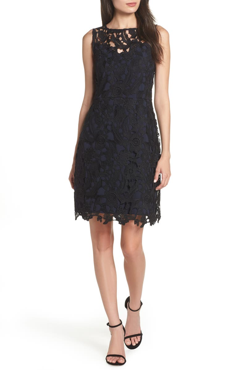 SAM EDELMAN Lace Sheath Dress, Main, color, BLACK