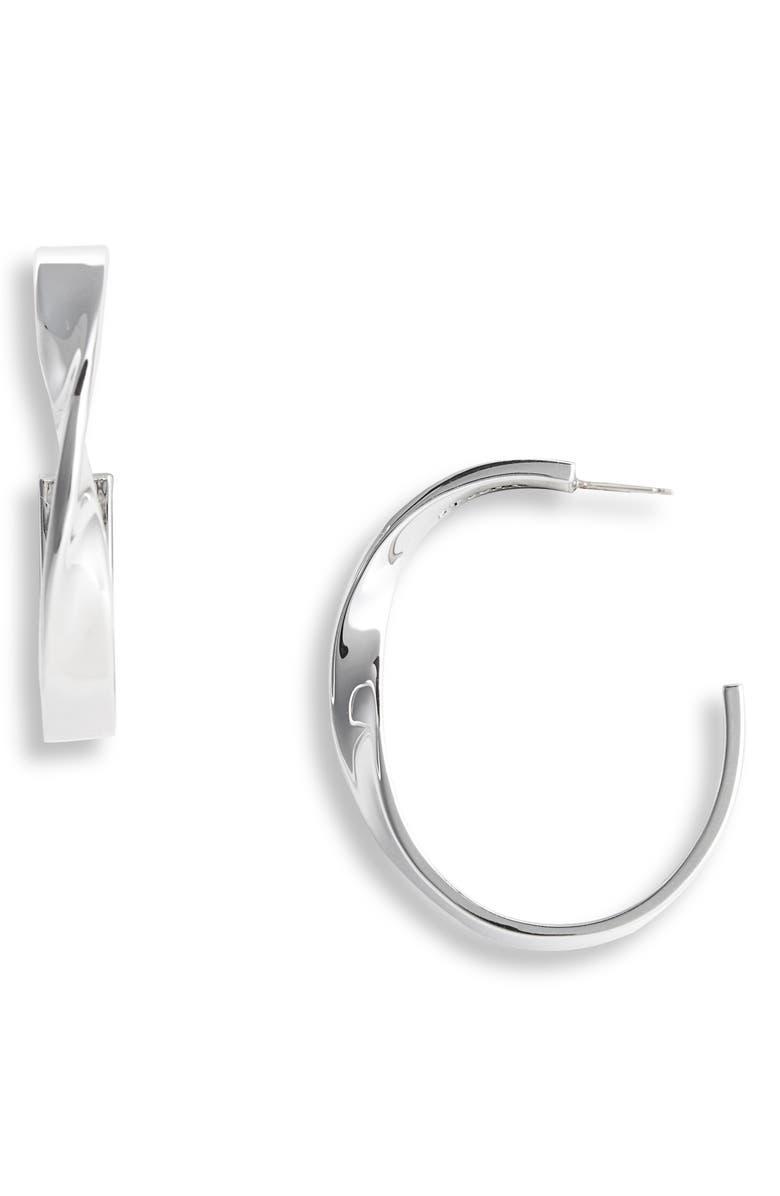 ST. JOHN COLLECTION Large Twist Metal Hoop Earrings, Main, color, RHODIUM