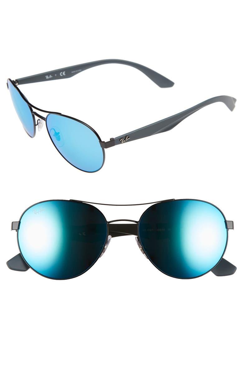 RAY-BAN 55mm Aviator Sunglasses, Main, color, 001