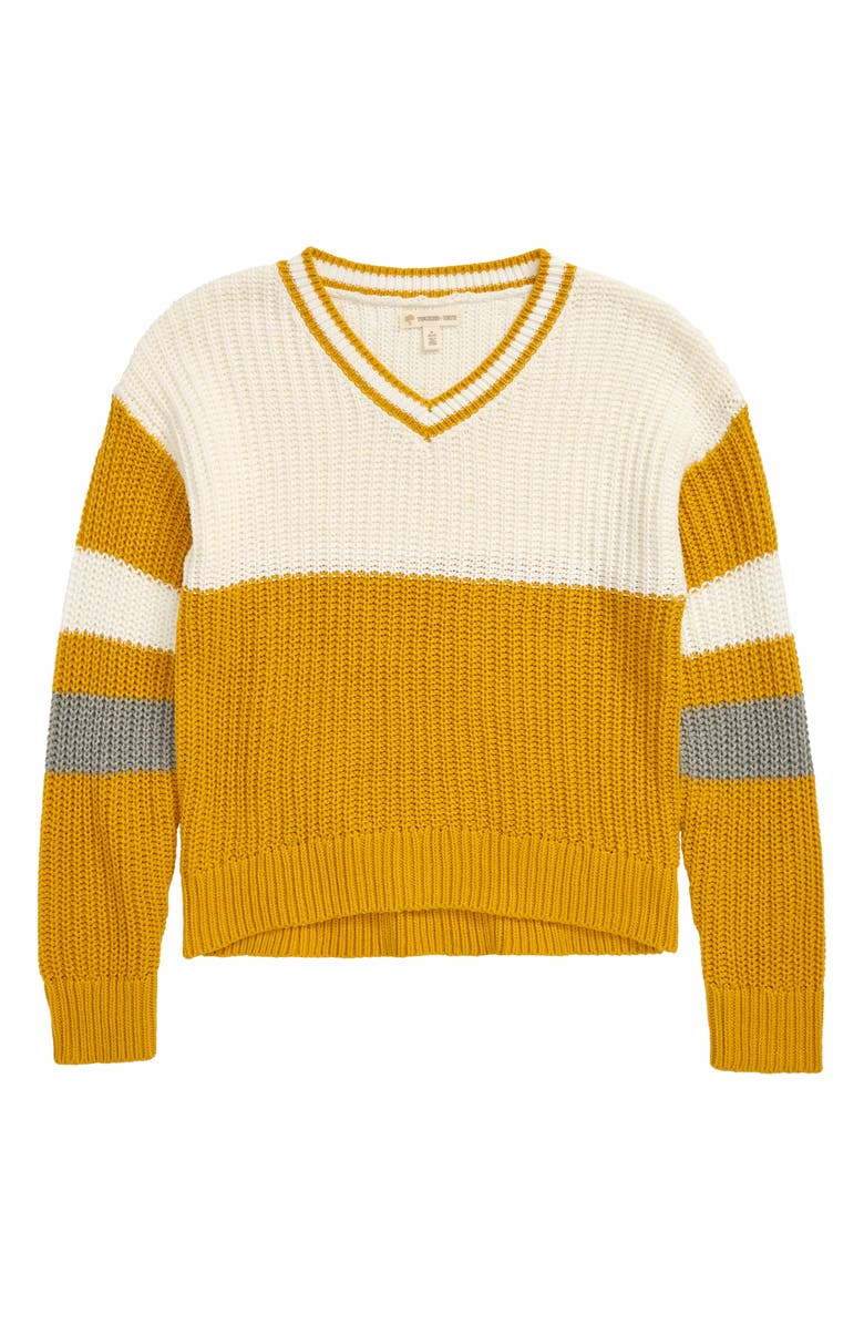TUCKER + TATE Varsity Sweater, Main, color, YELLOW NUGGET- IVORY