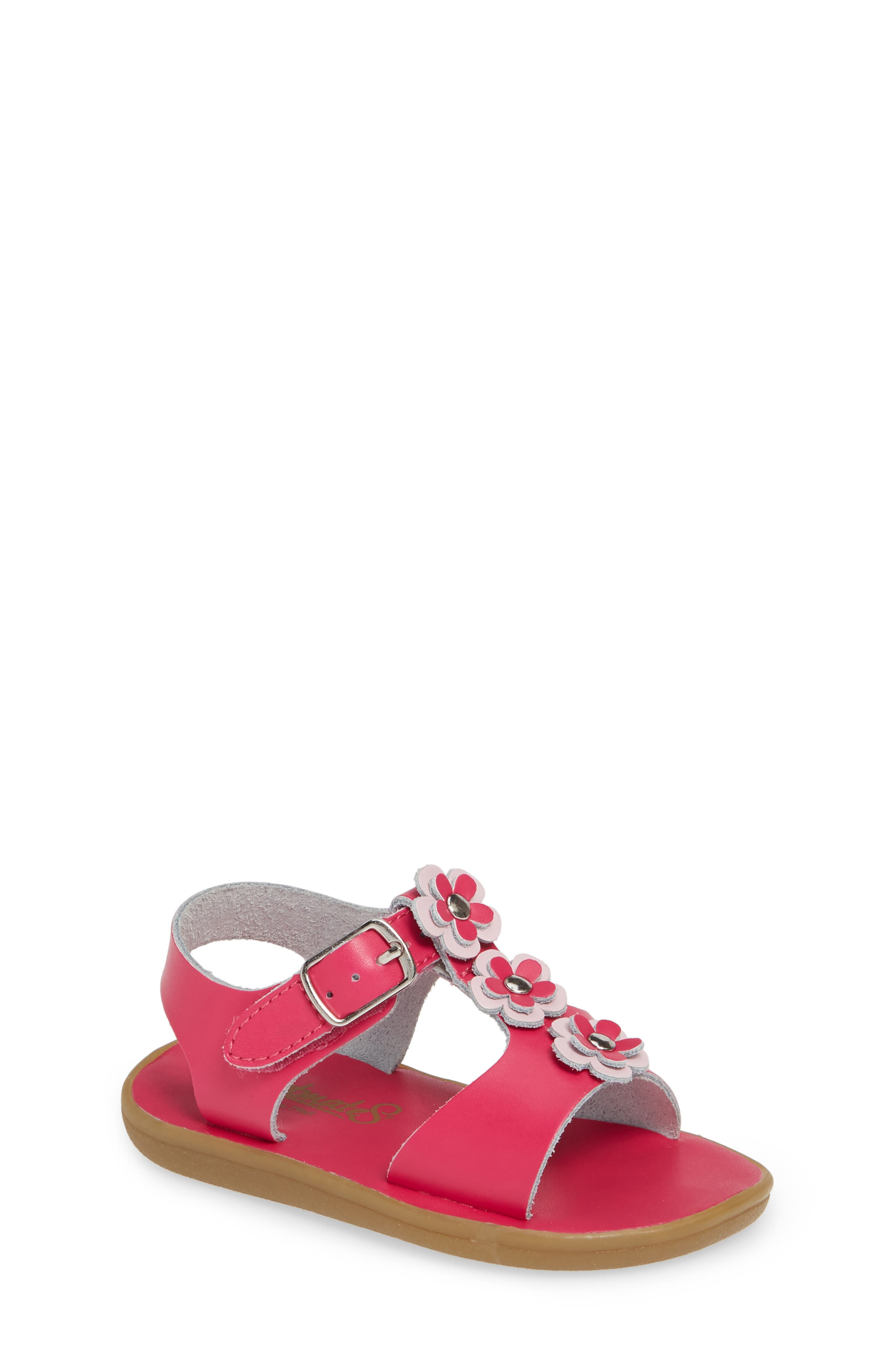 Made with an easy on-and-off hook-and-loop strap, this water-friendly T-strap sandal adorned with dimensional blooms is ideal for the beach, pool or splash pad. Style Name: Footmates Jasmine Waterproof Sandal (Baby, Walker, Toddler, & Little Kid). Style Number: 5794346. Available in stores.