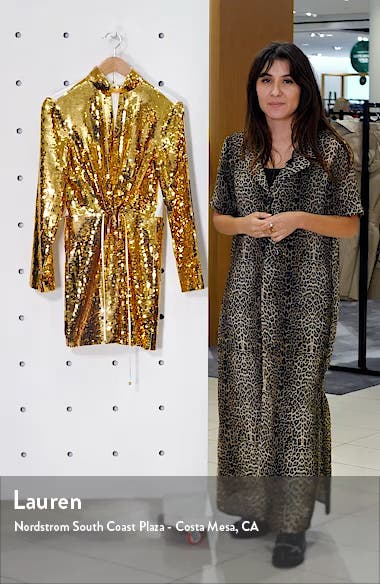 Avril Contrast Back Sequin Long Sleeve Minidress, sales video thumbnail